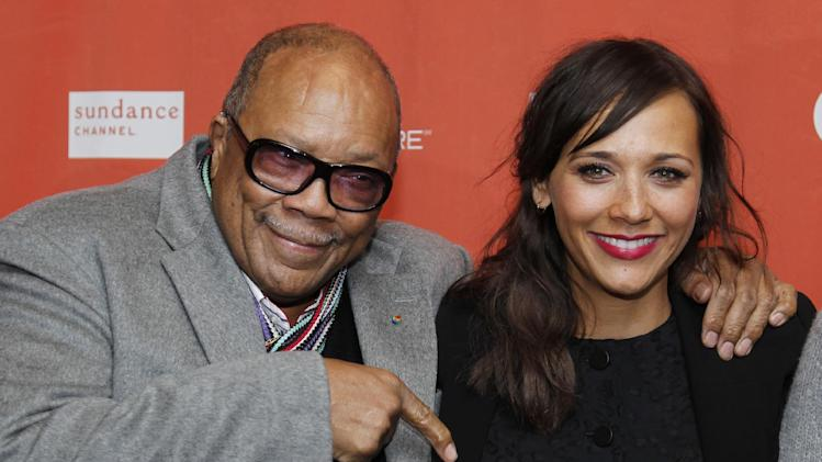 "Quincy Jones, left, and his daughter actress Rashida Jones pose at the premiere of ""Celeste and Jesse Forever"" at the 2012 Sundance Film Festival in Park City, Utah on Friday, Jan. 20, 2012. (AP Photo/Danny Moloshok)"