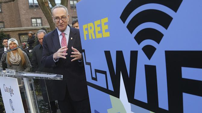 Sen. Charles Schumer, D-NY, speaks during a news conference, Tuesday, Jan. 8, 2013 in New York. Google and The Chelsea Improvement Company say they'll provide free public Wi-Fi in Manhattan's southwest Chelsea neighborhood. (AP Photo/Mary Altaffer)