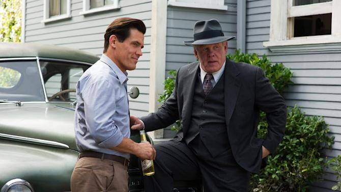 "This undated publicity film image released by Warner Bros. Pictures shows Josh Brolin, left, as Sgt. John O'Mara, and Nick Nolte, as Chief Parker, in Warner Bros. Pictures' and Village Roadshow Pictures' drama ""Gangster Squad,"" a Warner Bros. Pictures release. To bring the story of mobster Mickey Cohen's reign over post-war Los Angeles to life, the director of ""Gangster Squad"" employed Sean Penn, Josh Brolin, Ryan Gosling and more than 100 irreplaceable vintage American cars. (AP Photo/Warner Bros. Pictures, Wilson Webb)"
