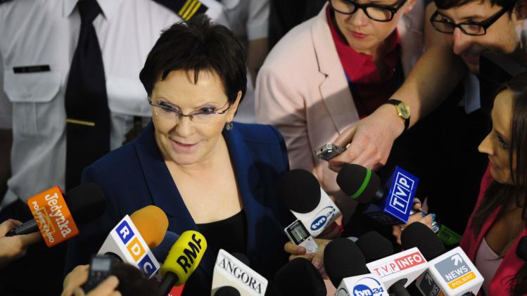 Poland's parliament speaker Ewa Kopacz speaks to media at the parliament in Warsaw
