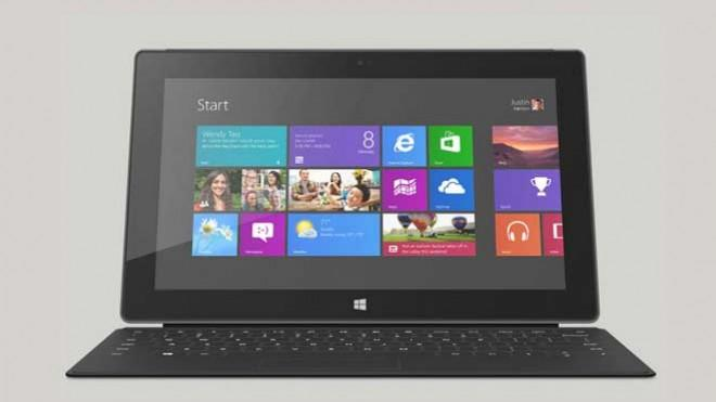 The touch-driven Microsoft Surface Pro: Shown here with the $120 Type Cover that transforms it from a classic tablet into a tablet-notebook hybrid.