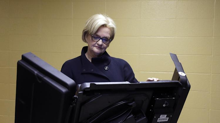 U.S. Sen. Claire McCaskill, D-Mo., votes at her polling place, Kirkwood Community Center, Tuesday, Nov. 6, 2012, in Kirkwood, Mo. McCaskill is running for reelection against Republican challenger Rep. Todd Akin, R-Mo. (AP Photo/Jeff Roberson)