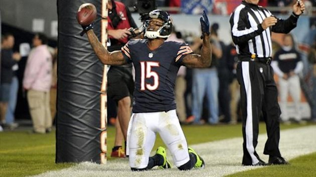 Chicago Bears wide receiver Brandon Marshall (15) celebrates scoring a touchdown against the New York Giants (Reuters)