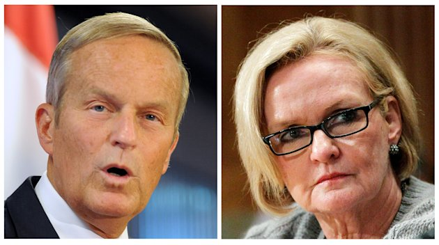 FILE - This photo combo shows U.S. Rep. Todd Akin, R-Mo., left, and Sen. Claire McCaskill, D-Mo. The razor-thin race for the White House has overshadowed the fight for control of Congress. But the sta