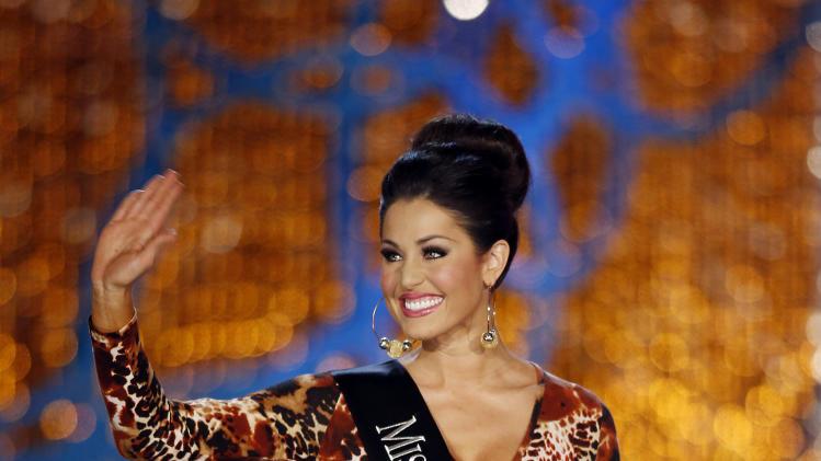 Miss Illinois Megan Ervin competes in the Miss America pageant on Saturday, Jan. 12, 2013, in Las Vegas. (AP Photo/Isaac Brekken)
