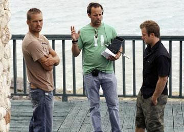 Paul Walker , director John Stockwell and Scott Caan on the set of MGM/Columbia Pictures' Into the Blue
