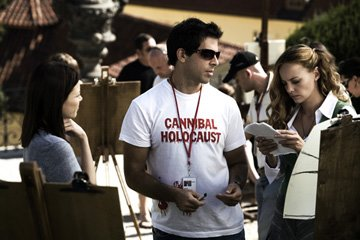 Lauren German , director Eli Roth and Bijou Phillips on the set of Lionsgate Films' Hostel: Part II