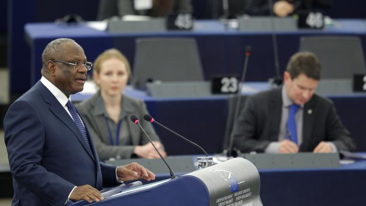 Mali's President Ibrahim Boubacar Keita addresses the European Parliament in Strasbourg