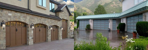 Left: carriage garage doors; right: glass garage doors (Photos: carywaynepeterson / Flickr)