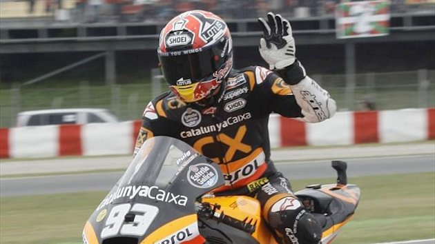 Suter Moto2 rider Marc Marquez of Spain waves, 2012 (Reuters)