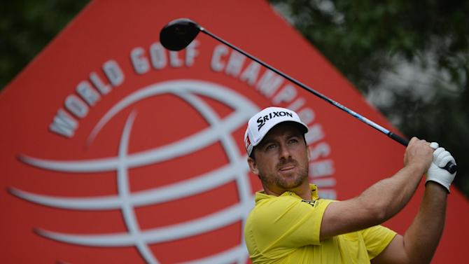 Graeme McDowell of Northern Ireland tees off at the 9th hole during the final day of the WGC-HSBC Champions tournament at the Shanghai Sheshan International Golf Club on November 3, 2013