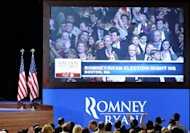 Supporters of US Presidential candidate Mitt Romney gather on election night in Boston, Massachusetts. President Barack Obama took two big strides towards re-election Tuesday by blocking Romney's grab for Pennsylvania and Wisconsin, the first key states called in their bitter White House race
