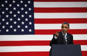 U.S. President Barack Obama speaks at a Democratic Party fundraiser in San Francisco