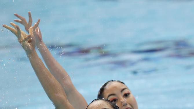 Japan's Yukiko Inui and Risako Mitsui perform during the synchronised swimming duet free preliminary at the Swimming World Championships in Kazan, Russia, Tuesday, July 28, 2015. (AP Photo/Michael Sohn)