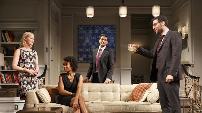 "In this image released by Boneau/Bryan-Brown, Gretchen Mol, from left, Karen Pittman, Hari Dhillon and Josh Radnor appear in a scene from ""Disgraced."" (AP Photo/Boneau/Bryan-Brown, Joan Marcus)"