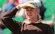 Miguel Angel Jimenez of Spain looks on from the 5th tee during a practice round for the 2012 British Open Golf Championship at Royal Lytham & St Anne's in Lytham, north-west England, ahead of the Open Championship which begins on July 19
