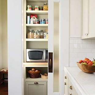 Closet converted for use as a pantry