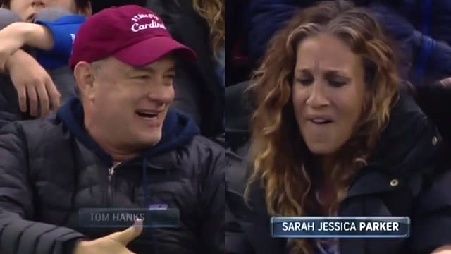 This Is Why Sarah Jessica Parker Looked So Disgusted With Tom Hanks at the Rangers Game