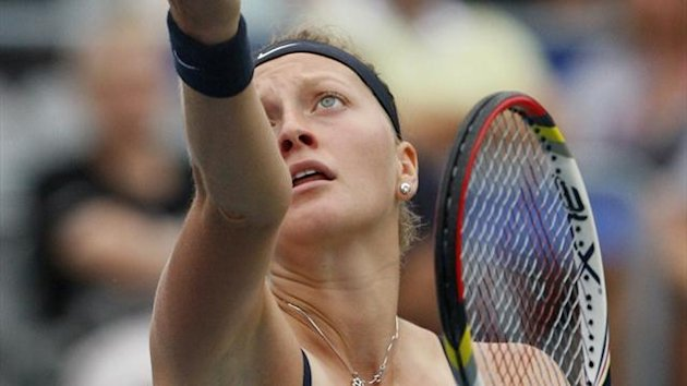 Petra Kvitova of the Czech Republic serves during her match against Marion Bartoli of France at the Rogers Cup in Montreal (Reuters)
