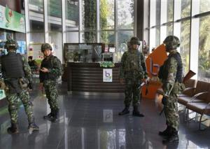 Thai soldiers occupy the foyer of the National Broadcasting…