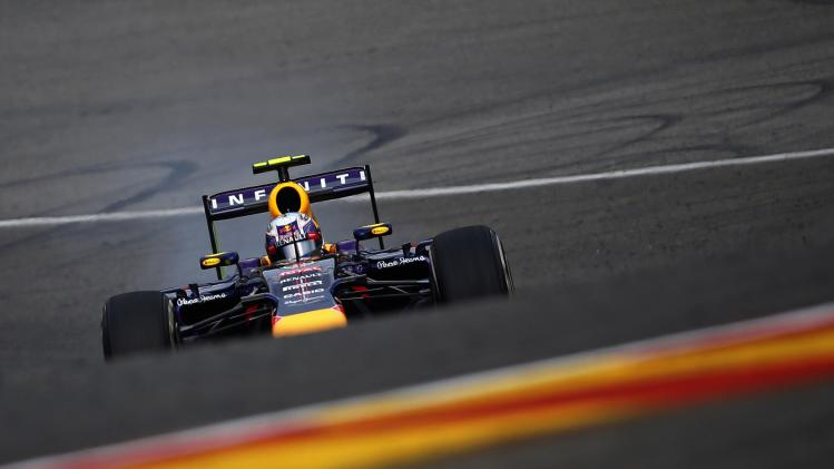Ricciardo drives during the first practice session at the Belgian F1 Grand Prix in Spa-Francorchamps