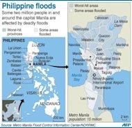 <p>Graphic map locating areas in and around the Philippine capital Manila that have been hit by worst flooding.</p>