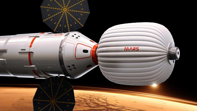 """A drawing provided by Inspiration Mars shows an artist's conception of a spacecraft envisioned by the private group, which wants to send a married couple on a mission to fly by the red planet and zip back home, beginning in 2018. The nonprofit """"Inspiration Mars"""" will get initial money from multimillionaire Dennis Tito, the first space tourist. Outsiders put the price tag at more than $1 billion. The mission, announced Wednesday, Feb. 27, 2013, would last more than 16 months. (AP Photo/Inspiration Mars)"""