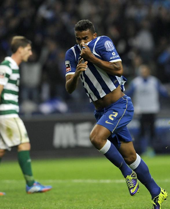 FC Porto's Danilo Silva, from Brazil, celebrates after scoring his side's second goal against Sporting in a Portuguese League soccer match at the Dragao stadium in Porto, Portugal, Sunday, Oct. 27, 20