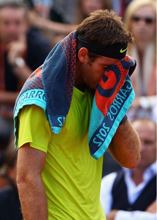 Juan Martin Del Potro Of Argentina Wipes Getty Images