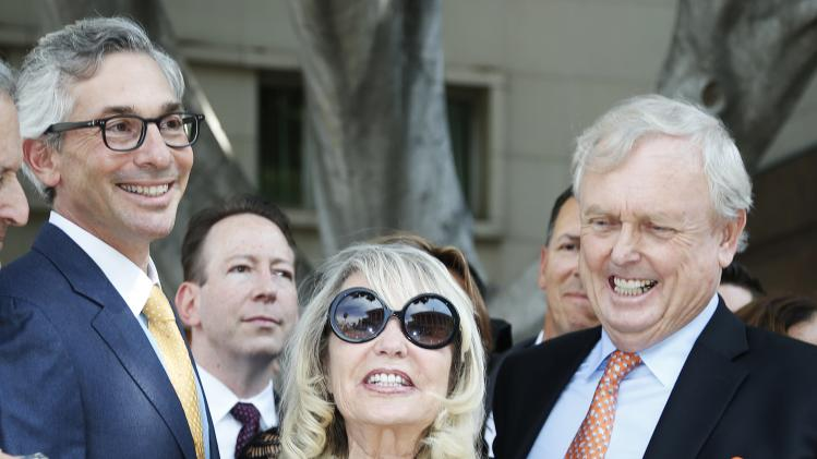 Shelly Sterling, 79, speaks at a news conference with her lawyer Pierce O'Donnell and Steve Ballmer's lawyer Adam Streisand in Los Angeles