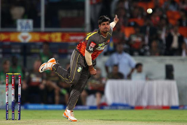 Karan Sharma during match 25 of the Pepsi Indian Premier League between The Sunrisers Hyderabad and The Kings XI Punjab held at the Rajiv Gandhi International  Stadium, Hyderabad  on the 19th April 20