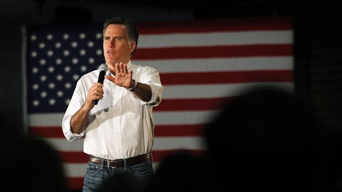 Republican presidential candidate, former Massachusetts Gov. Mitt Romney speaks at a campaign rally in Atlanta, Wednesday, Feb. 8, 2012. (AP Photo/Gerald Herbert)