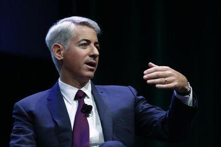 William Ackman, founder and CEO of hedge fund Pershing Square Capital Management, speaks to the audience about Herbalife company in New York