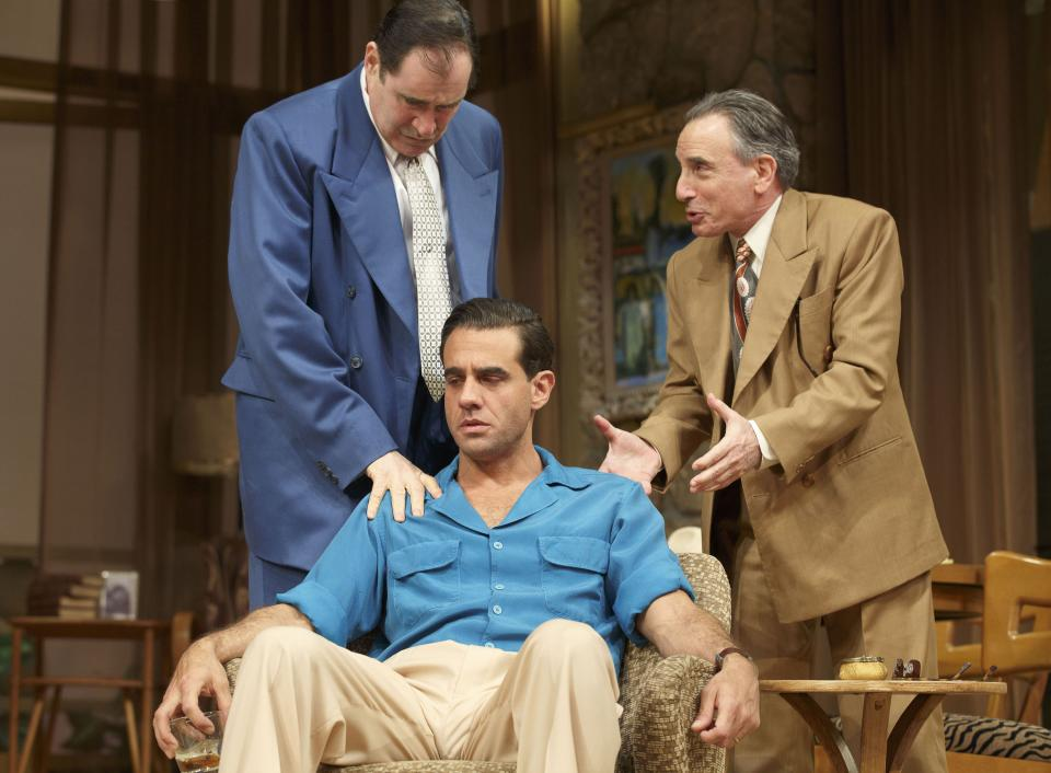 "This publicity image released by Polk PR shows, from left, Richard Kind, Bobby Cannavale (seated) and Chip Zien, in a scene from Clifford Odets' drama ""The Big Knife"", currently performing on Broadway at the Roundabout Theatre Company's American Airlines Theatre in New York. (AP Photo/Polk PR, Joan Marcus)"