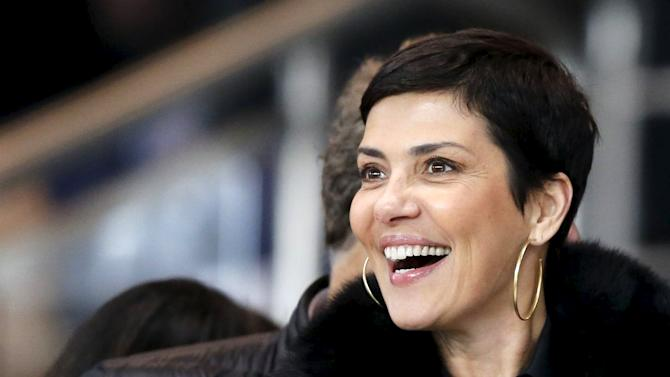 Brazilian TV host Cristina Cordula attends the French league soccer between Paris St Germain and Olympique Marseille at the Parc des Princes stadium in Paris