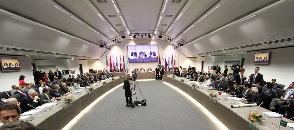 General view of the meeting of oil ministers of the Organization of the Petroleum Exporting countries, OPEC, at their headquarters Austria, on Thursday, June 14, 2012. The meeting of the 12 oil ministers of the OPEC focuses on price and production targets. (AP Photo/Ronald Zak)