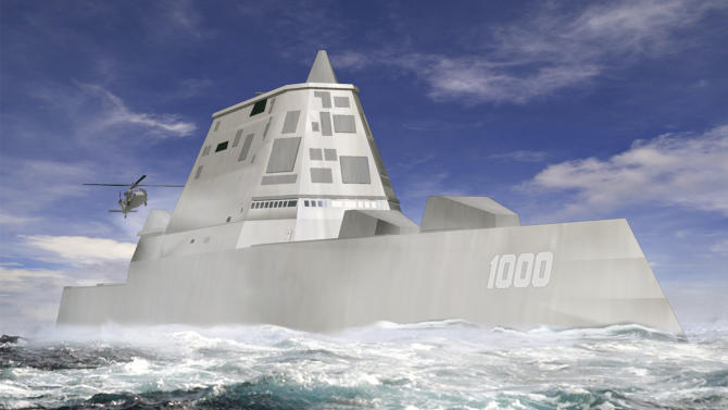 """FILE - This file image released by Bath Iron Works shows a rendering of the DDG-1000 Zumwalt, the U.S. Navy's next-generation destroyer, which has been funded to be built at Bath Iron Works in Maine and at Northrop Grumman's shipyard in Pascagoula, Miss. The super-stealthy warship that could underpin the U.S. navy's China strategy will be able to sneak up on coastlines virtually undetected and pound targets with electromagnetic """"railguns"""" right out of a sci-fi movie.  (AP Photo/Bath Iron Works, File)"""