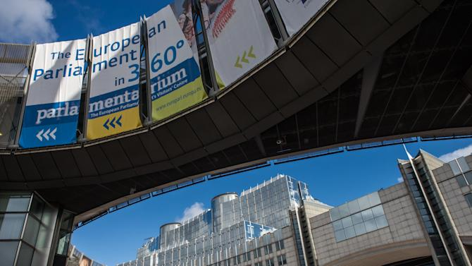The European Parliament in Brussels, Friday, Oct. 12, 2012. The European Union won the Nobel Peace Prize on Friday for its efforts to promote peace and democracy in Europe, despite being in the midst of its biggest crisis since the bloc was created in the 1950s. (AP Photo/Geert Vanden Wijngaert)