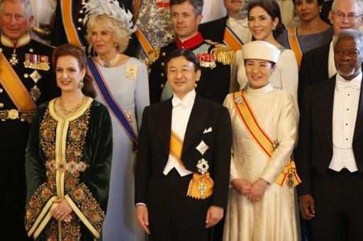 Princess Lalla Salma of Morocco, Britain's Prince Charles of Wales and his wife Camilla, Duchess of Cornwall, Denmark's Crown Prince Frederik and his wife Crown Princess Mary, European Council chief H