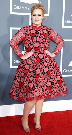 Adele Wears Red, Floral Printed Valentino Dress at 2013 Grammy Awards
