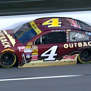 Harvick scrapes wall in subpar qualifying run