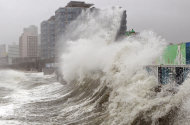 High waves caused by Typhoon Sanba crash on Haeundae beach in Busan, south of Seoul, South Korea, Monday, Sept. 17, 2012. (AP Photo/Yonhap, Jo Jung-ho) KOREA OUT