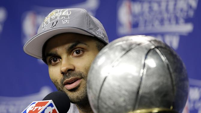 San Antonio Spurs guard Tony Parker, of France, speaks during a post-game news conference after the Spurs defeated the Memphis Grizzlies in Game 4 of the Western Conference finals NBA basketball playoff series in Memphis, Tenn., Monday, May 27, 2013. The Spurs defeated the Grizzlies 93-86 to advance to the NBA finals. (AP Photo/Danny Johnston)