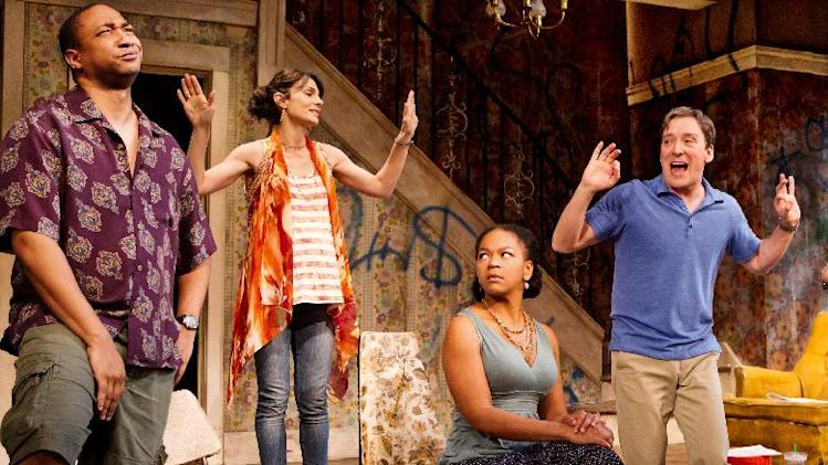 "In this theater image released by O+M Co., from left, Damon Gupton, Annie Parisse, Crystal A. Dickinson, and Jeremy Shamos are shown in a scene from ""Clybourne Park,"" at the Walter Kerr Theatre, in New York.  The production was nominated for a Tony Award for best play Tuesday, May 1, 2012. (AP Photo/The O+M Co., Nathan Johnson Photography)"