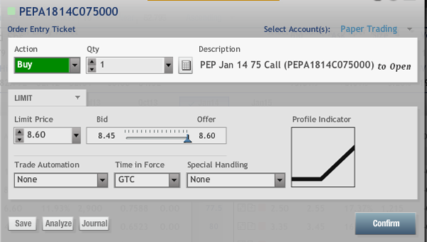 Pepsico Stock Call Option