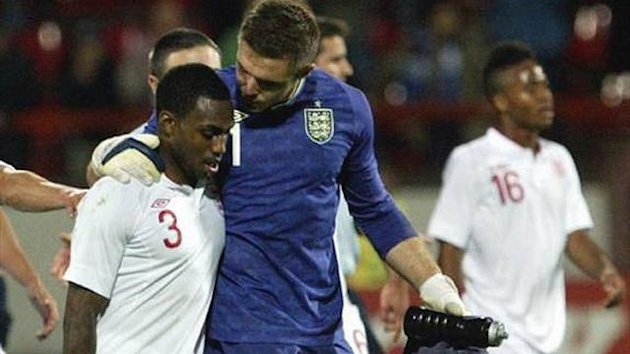 Danny Rose and Jack Butland after England U21's 1-0 win at Serbia in European U21 championship qualifier