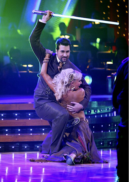 Professional dancer, Kim Johnson and Joey Fatone perform their third dance in the 4th season of Dancing with the Stars.