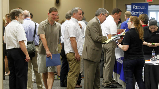 FILE - This July 15, 2013 photo, people line up at the job fair in South Burlington, Vt. The 162,000 jobs the economy added in July were a disappointment. The quality of the jobs was even worse. A disproportionate number of the added jobs were part-time or low-paying, or both. Part-time work accounted for more than 65 percent of the positions employers added in July. Low-paying retailers, restaurants and bars supplied more than half July's job gain. (AP Photo/Toby Talbot)