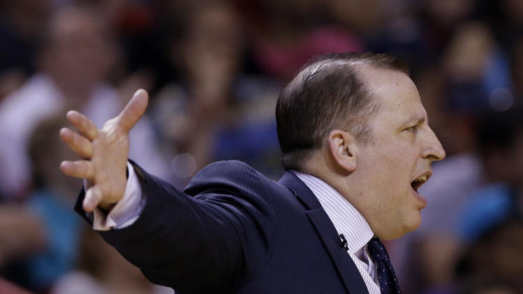Chicago Bulls head coach Tom Thibodeau yells from the sideline during the first half of an NBA basketball game against the Miami Heat Sunday April 14, 2013, in Miami. (AP Photo/Lynne Sladky)