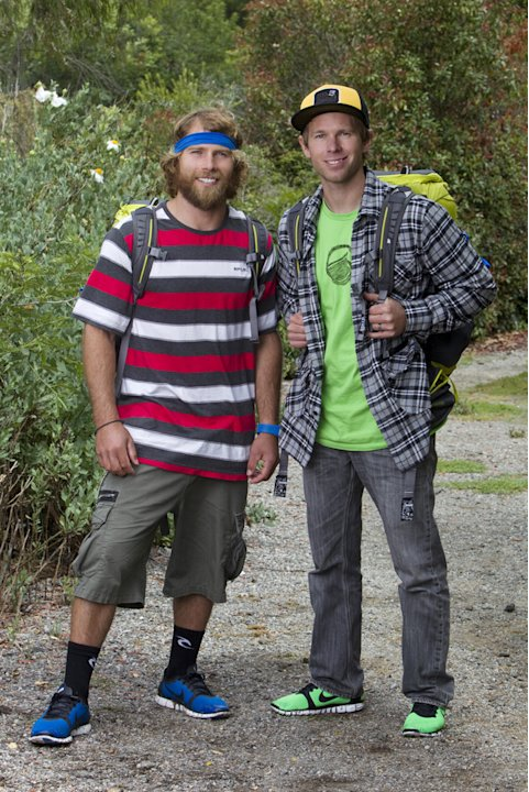 Pro Snowboarders Andy Finch (left) and Tommy Czeschin compete in &quot;The Amazing Race 19.&quot; 
